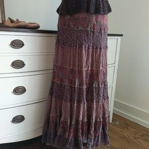 Boho chic broomstick tiered patchwork skirt
